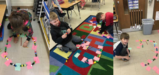 Students in Mrs. Brindley's Surline Elementary first grade class are making analog clocks in math - May 2019