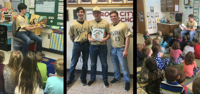 Ogemaw Heights Baseball Players read to Rose City School Students