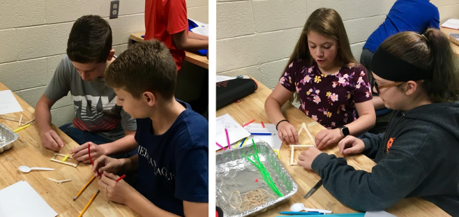 Surline Middle School Students build catapults in STEM Class